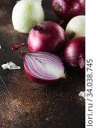 Купить «red onions. Red onion halves. Food Ingredients», фото № 34038745, снято 29 июля 2019 г. (c) Nataliia Zhekova / Фотобанк Лори