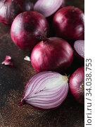 Купить «red onions. Red onion halves. Food Ingredients», фото № 34038753, снято 29 июля 2019 г. (c) Nataliia Zhekova / Фотобанк Лори