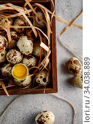 Купить «Quail eggs. Flat lay composition with small quail eggs in the wooden box on the concrete background. One broken egg with a bright yolk.», фото № 34038889, снято 15 апреля 2019 г. (c) Nataliia Zhekova / Фотобанк Лори