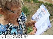 Купить «Пожилая женщина смотрит буклет поправок Конституции 2020 Конституция новая», фото № 34038981, снято 18 июня 2020 г. (c) Кузнецов Максим / Фотобанк Лори