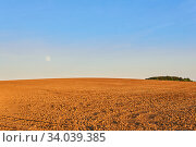 Купить «Evening plowed field under the rising moon», фото № 34039385, снято 4 июня 2020 г. (c) Евгений Харитонов / Фотобанк Лори