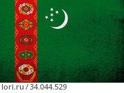 Купить «The Republic of Turkmenistan National flag. Grunge background», фото № 34044529, снято 13 июля 2020 г. (c) easy Fotostock / Фотобанк Лори