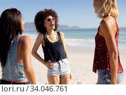 Купить «Multi-ethnic group of female standing on the beach», фото № 34046761, снято 25 февраля 2020 г. (c) Wavebreak Media / Фотобанк Лори
