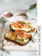 Купить «Toast with avocado cream and smoked salmon on the white wooden board. Smoked salmon, cream cheese and pesto toast sandwiches with radish sprouts», фото № 34047493, снято 20 января 2020 г. (c) Nataliia Zhekova / Фотобанк Лори