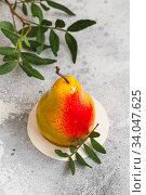 Mousse dessert in the shape of a pear fruit, orange fruit, apricot, lemon and cherry. Стоковое фото, фотограф Nataliia Zhekova / Фотобанк Лори