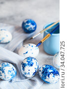 Купить «Dyed Easter eggs. Сlassic blue Easter eggs on the grey background. Blue speckled easter eggs with paint and brushes. Decorating eggs, preparing for Easter», фото № 34047725, снято 27 февраля 2020 г. (c) Nataliia Zhekova / Фотобанк Лори