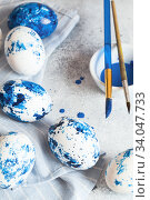 Купить «Dyed Easter eggs. Сlassic blue Easter eggs on the grey background. Blue speckled easter eggs with paint and brushes. Decorating eggs, preparing for Easter», фото № 34047733, снято 27 февраля 2020 г. (c) Nataliia Zhekova / Фотобанк Лори