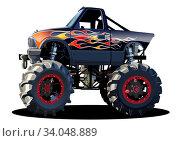 Купить «Vector Cartoon Monster Truck», иллюстрация № 34048889 (c) Александр Володин / Фотобанк Лори