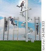 Купить «Competition concept with businessman beating competitors», фото № 34048933, снято 3 июля 2020 г. (c) Elnur / Фотобанк Лори