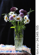Bouquet of beautiful multicolored wildflowers in a glass vase on a dark background. Стоковое фото, фотограф Яна Королёва / Фотобанк Лори