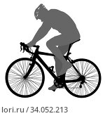 Silhouette of a cyclist male on white background. Стоковое фото, фотограф Zoonar.com/Alexander Strela / easy Fotostock / Фотобанк Лори