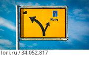 Купить «Street Sign the Direction Way to All versus None», фото № 34052817, снято 7 августа 2020 г. (c) easy Fotostock / Фотобанк Лори