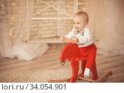 lovely little baby boy riding a rocking deer. Стоковое фото, фотограф Nataliia Zhekova / Фотобанк Лори