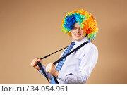 Купить «Close-up Portrait of business man in clown wig», фото № 34054961, снято 28 февраля 2016 г. (c) Nataliia Zhekova / Фотобанк Лори