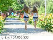 Купить «Две сестренки гуляют в красивом цветочном городском парке», фото № 34055533, снято 16 июня 2020 г. (c) Иванов Алексей / Фотобанк Лори