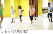 Купить «Children learn dance movements in dance class», видеоролик № 34055821, снято 3 июля 2020 г. (c) Яков Филимонов / Фотобанк Лори