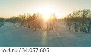 Купить «Aerial drone view of cold winter landscape with arctic field, trees covered with frost snow and morning sun rays over horizon.», видеоролик № 34057605, снято 29 июня 2019 г. (c) Александр Маркин / Фотобанк Лори