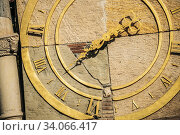 Tbilisi, Georgia. Close Up Details Of Famous Rezo Gabriadze Marionette Theater Clock Tower On Old City. Puppet Theater Museum In Tbilisi, Georgia, Caucasus, Asia. Clock Face. Стоковое фото, фотограф Ryhor Bruyeu / easy Fotostock / Фотобанк Лори