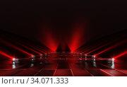 Background of empty red dark podium with lights and tile floor. 3d rendering. Стоковая иллюстрация, иллюстратор Евдокимов Максим / Фотобанк Лори