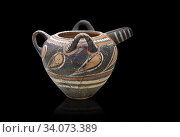Купить «Minoan Kamares Ware spouted jug wit 3 handles and polychrome decorations, Phaistos 1800-1650 BC, Heraklion Archaeological Museum, black background.This...», фото № 34073389, снято 25 июля 2012 г. (c) age Fotostock / Фотобанк Лори