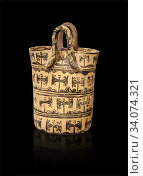 Купить «Minoan clay basket shaped vessel with double axes decorations, Special Palatial Tradition , Pseira 1500-1400 BC BC, Heraklion Archaeological Museum, black background.», фото № 34074321, снято 9 февраля 2020 г. (c) age Fotostock / Фотобанк Лори