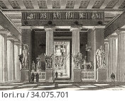 Artistic recreation view Temple of Jupiter at Olympia, Ancient Greece. Old 19th century engraved illustration, El Mundo Ilustrado 1880. Стоковое фото, фотограф Jerónimo Alba / age Fotostock / Фотобанк Лори
