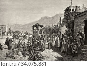 Giving date fruit palm fruit among people in a cemetery at Cairo, Ancient Egypt. Old 19th century engraved illustration, El Mundo Ilustrado 1880. Стоковое фото, фотограф Jerónimo Alba / age Fotostock / Фотобанк Лори