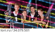 Купить «command players with laser pistols», фото № 34079501, снято 27 августа 2018 г. (c) Яков Филимонов / Фотобанк Лори