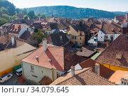 Купить «Aerial view from clock tower in Sighisoara, Romania», фото № 34079645, снято 16 сентября 2017 г. (c) Яков Филимонов / Фотобанк Лори