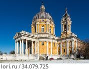 Architecture Basilica of Superga church in Turin, Italy (2017 год). Стоковое фото, фотограф Яков Филимонов / Фотобанк Лори