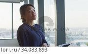 Купить «Thoughtful professional businesswoman looking out of a window while her hand on her chin in slow mot», видеоролик № 34083893, снято 27 февраля 2020 г. (c) Wavebreak Media / Фотобанк Лори