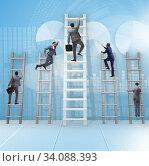 Купить «Career progression concept with various ladders», фото № 34088393, снято 5 июля 2020 г. (c) Elnur / Фотобанк Лори