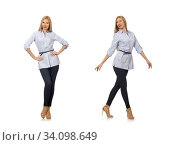 Woman in blue blouse isolated on white. Стоковое фото, фотограф Elnur / Фотобанк Лори
