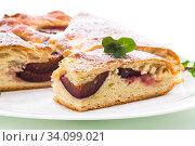 Купить «sweet baked homemade plum cake with icing sugar», фото № 34099021, снято 20 марта 2020 г. (c) Peredniankina / Фотобанк Лори