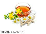 Чай с лекарственными травами (ромашкой, зверобоем) и бады на их основе. Стоковое фото, фотограф Татьяна Белова / Фотобанк Лори