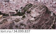 Panoramic view from drone of the castle Sagunto in summer. Valencian Community, Spain. Стоковое видео, видеограф Яков Филимонов / Фотобанк Лори