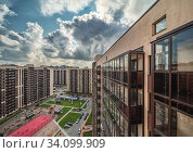 Residential Estate new district with skyscrapers and parks. Стоковое фото, фотограф Ольга Сапегина / Фотобанк Лори