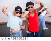 Купить «Kids training hip hop in dance studio», фото № 34100681, снято 30 июня 2020 г. (c) Яков Филимонов / Фотобанк Лори