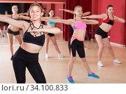 Smiling women are practising rouch movement in jazz dance. Стоковое фото, фотограф Яков Филимонов / Фотобанк Лори