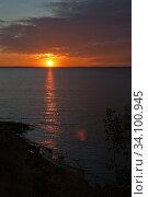 Купить «Scenic view. Colorful sunset over the Volga.», фото № 34100945, снято 10 сентября 2010 г. (c) Акиньшин Владимир / Фотобанк Лори
