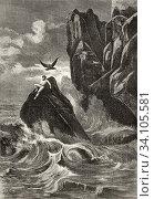 Prometheus, Augusto Gross painting. Old 19th century engraved illustration, El Mundo Ilustrado 1880. Стоковое фото, фотограф Jerónimo Alba / age Fotostock / Фотобанк Лори