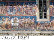 Siege of Constantinople paintings on Moldovita Monastery church - Romanian Orthodox monastery located in commune of Vatra Moldovitei, Suceava County, Romania. Стоковое фото, фотограф Konrad Zelazowski / age Fotostock / Фотобанк Лори
