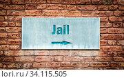 Купить «Street Sign the Direction Way to Jail», фото № 34115505, снято 12 июля 2020 г. (c) easy Fotostock / Фотобанк Лори
