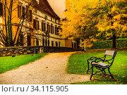Купить «Graz, Austria 02.10.2019: View at Eggenberg palace in Autumn tourist spot, famous travel destination in Styria.», фото № 34115905, снято 10 июля 2020 г. (c) easy Fotostock / Фотобанк Лори