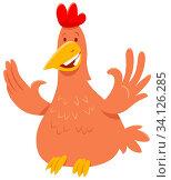 Cartoon Illustration of Funny Chicken or Hen Bird Farm Animal Character. Стоковое фото, фотограф Zoonar.com/Igor Zakowski / easy Fotostock / Фотобанк Лори