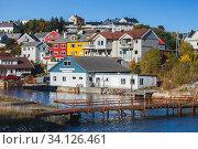 Kristiansund, coastal Norwegian town cityscape (2016 год). Стоковое фото, фотограф EugeneSergeev / Фотобанк Лори