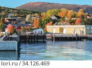 Купить «Coastal landscape with ferry pier of Lensvik harbor», фото № 34126469, снято 17 октября 2016 г. (c) EugeneSergeev / Фотобанк Лори