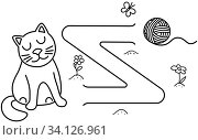 Купить «Black coloring pages with maze. Cartoon cat and ball. Kids education art game. Template design with pet on white background. Outline vector», иллюстрация № 34126961 (c) Dmitry Domashenko / Фотобанк Лори
