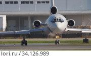 Купить «Tupolev Tu-154 taxiing before departure», видеоролик № 34126989, снято 17 июня 2020 г. (c) Игорь Жоров / Фотобанк Лори