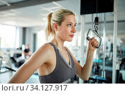 Sportliche junge Frau trainiert Trizeps Muskel am Kabelzug im Fitnesscenter. Стоковое фото, фотограф Zoonar.com/Robert Kneschke / age Fotostock / Фотобанк Лори
